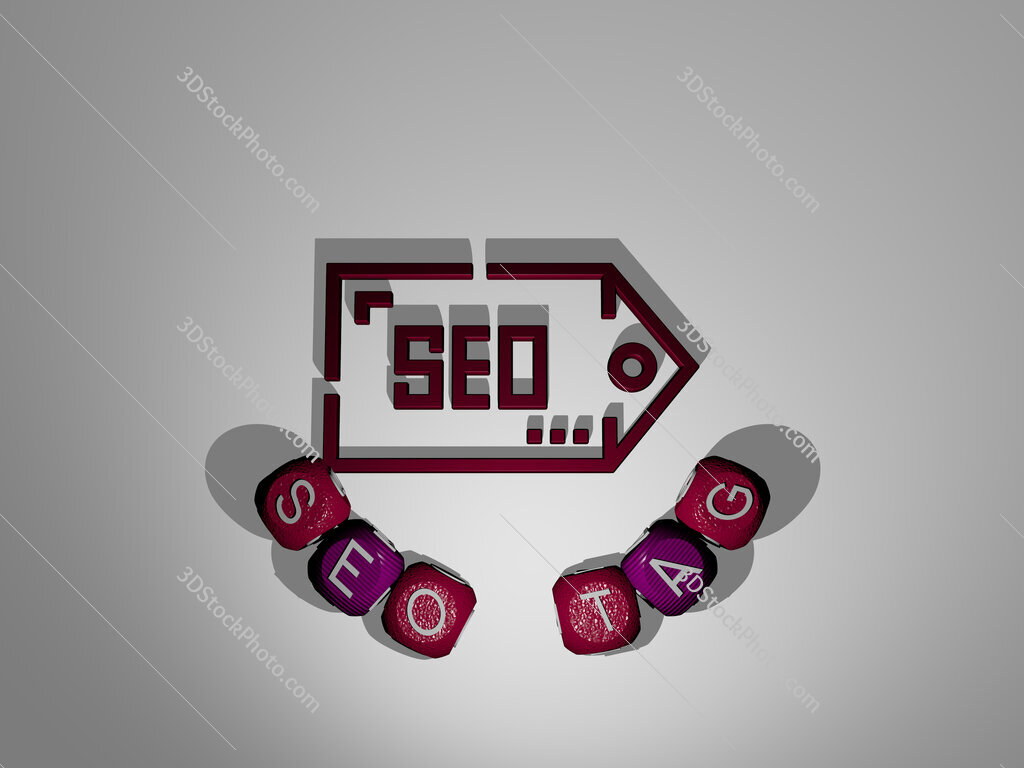 seo tag text around the 3D icon