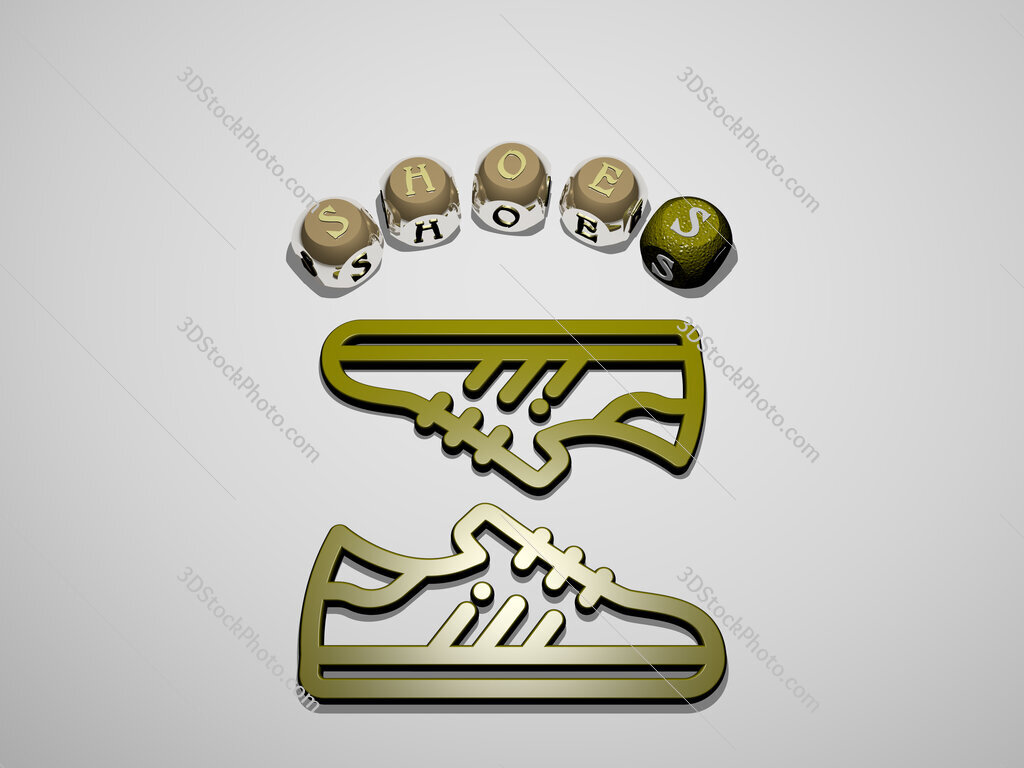 shoes 3D icon surrounded by the text of cubic letters