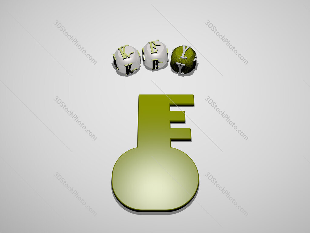 key 3D icon surrounded by the text of cubic letters