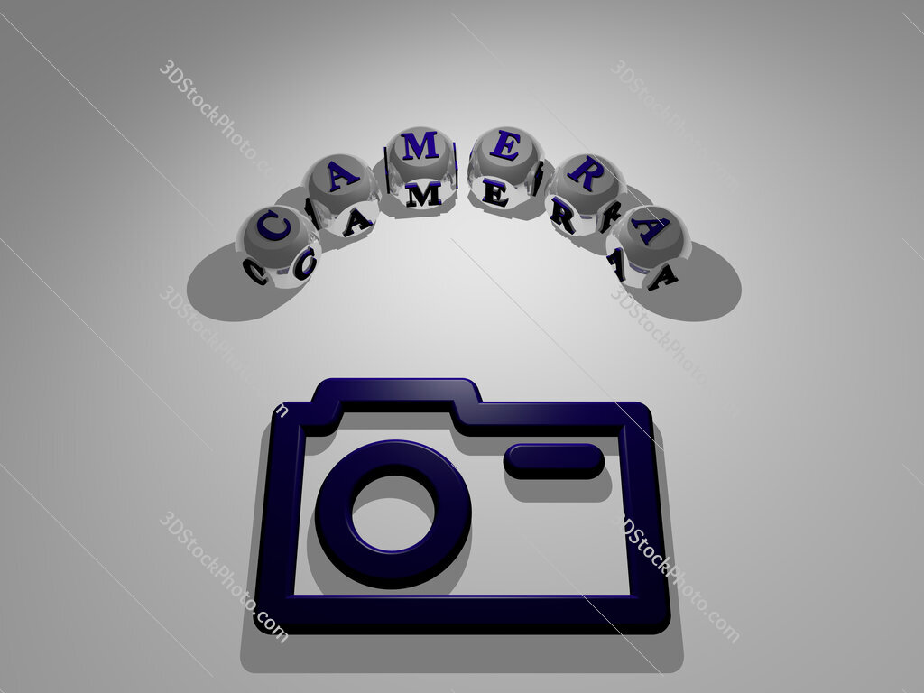 camera circular text of separate letters around the 3D icon