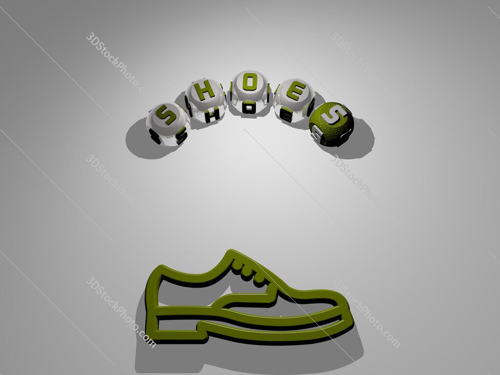 shoes circular text of separate letters around the 3D icon