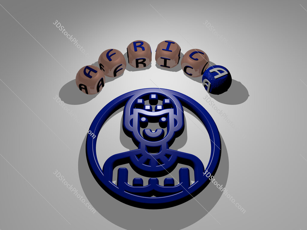 africa circular text of separate letters around the 3D icon