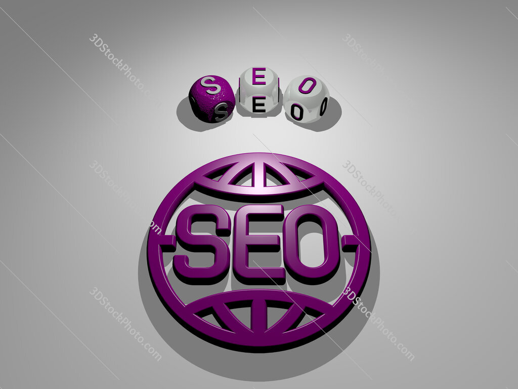 seo circular text of separate letters around the 3D icon