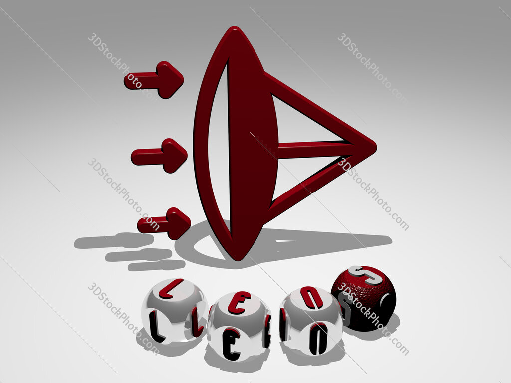 lens round text of cubic letters around 3D icon