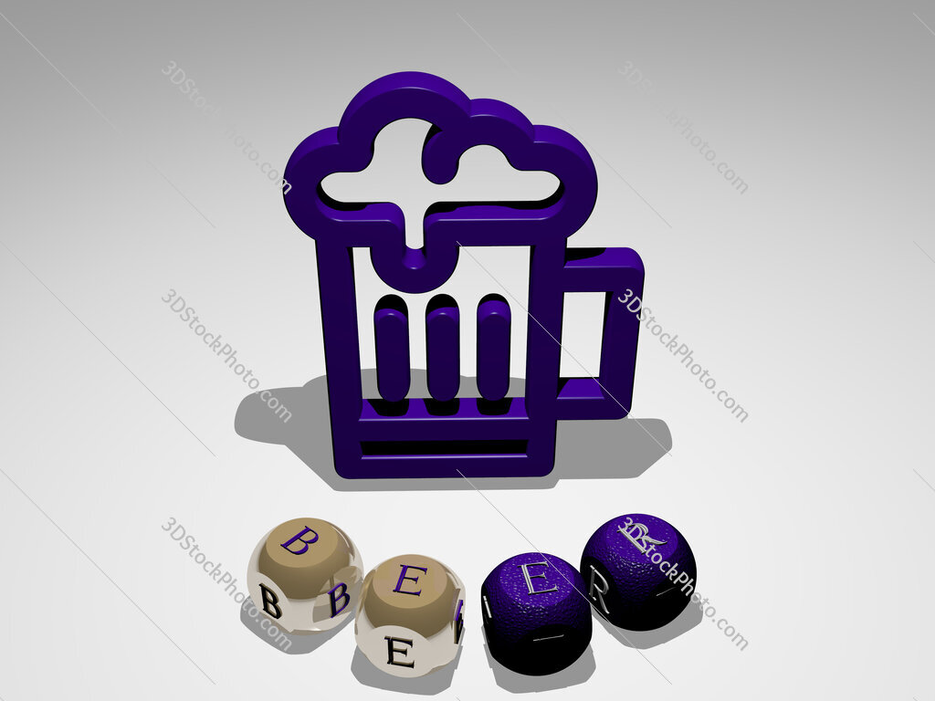 beer round text of cubic letters around 3D icon