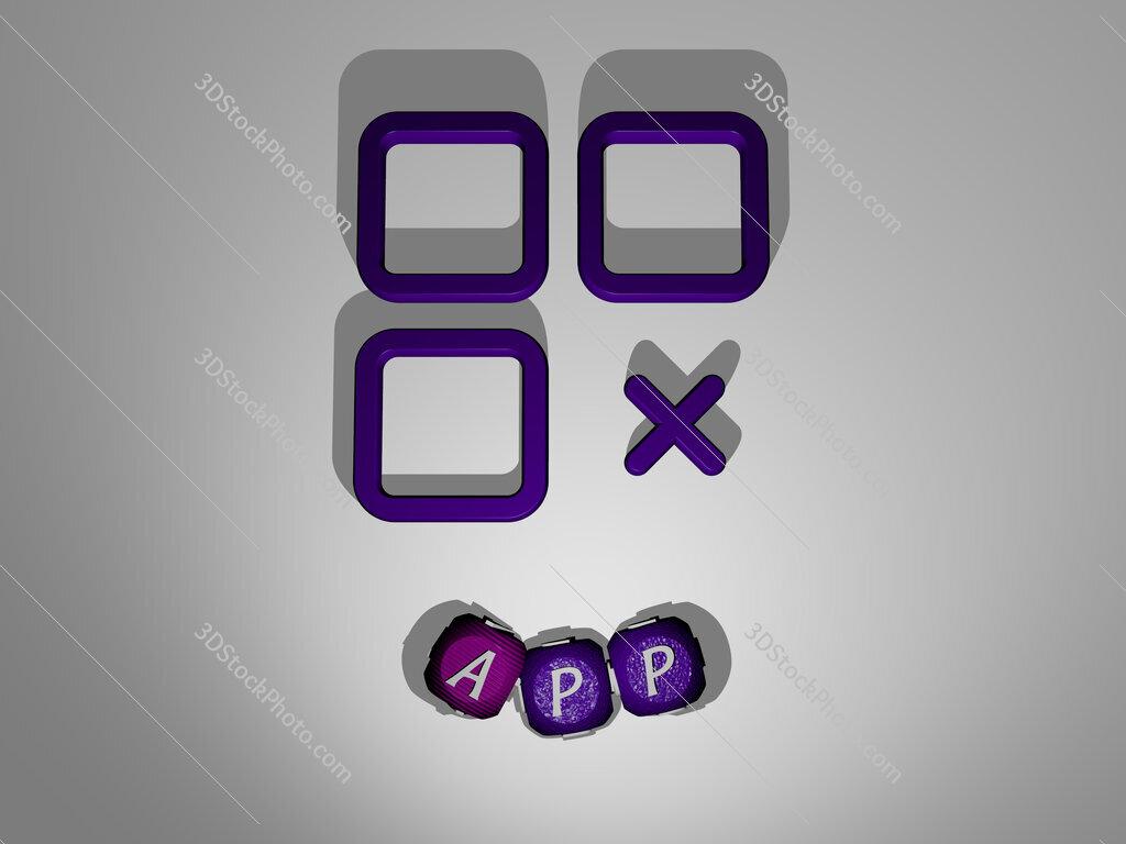 app text around the 3D icon