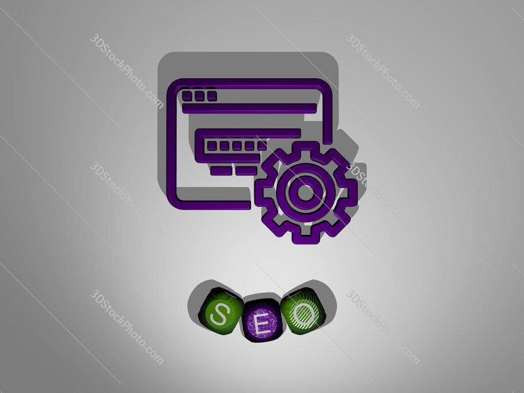 seo text around the 3D icon