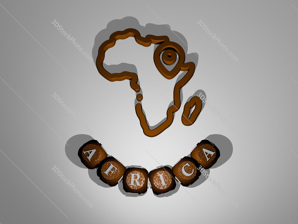 africa text around the 3D icon
