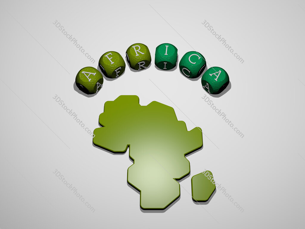 africa icon surrounded by the text of individual letters