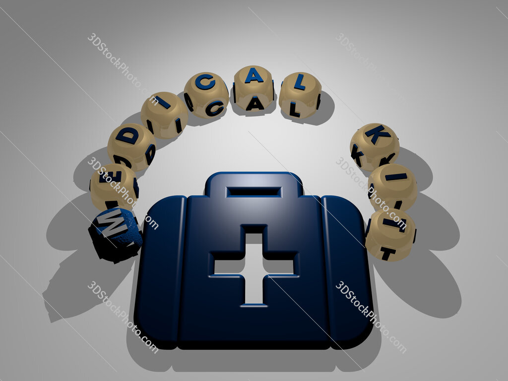 medical kit circular text of separate letters around the 3D icon
