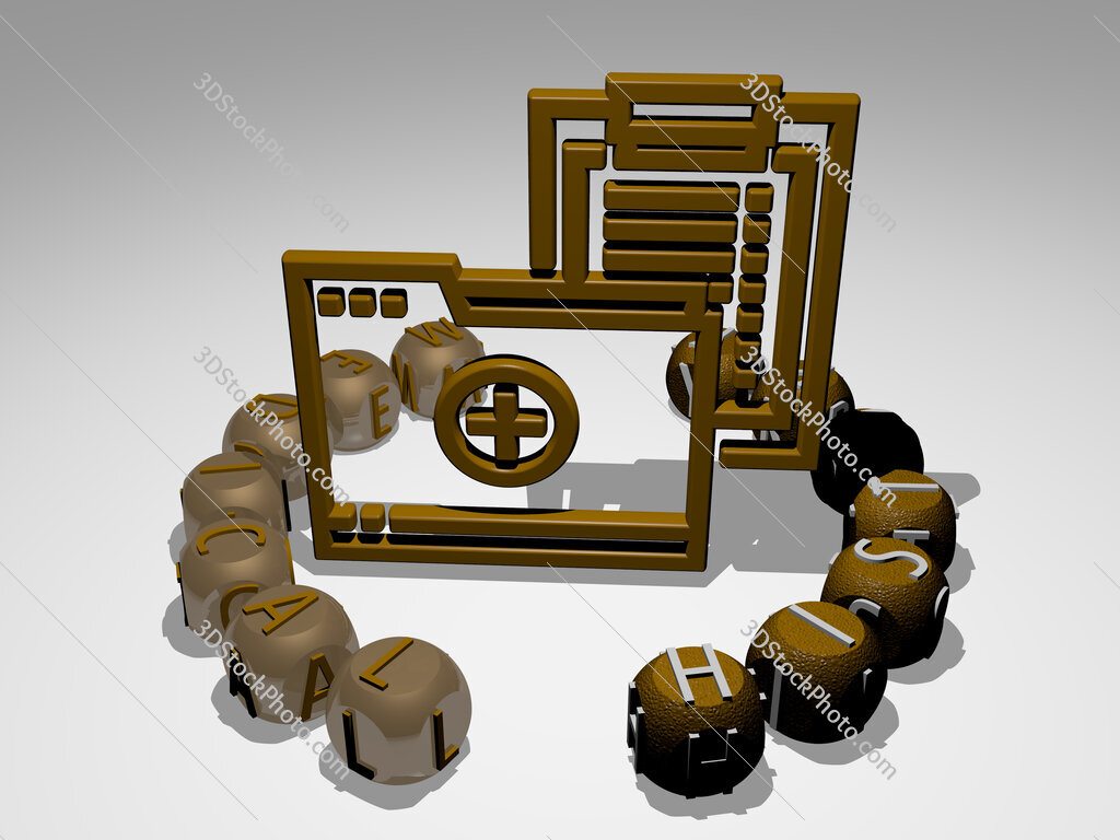 medical history round text of cubic letters around 3D icon