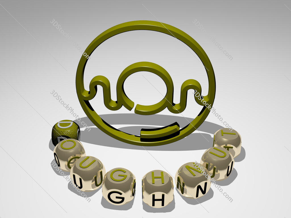 Doughnut round text of cubic letters around 3D icon