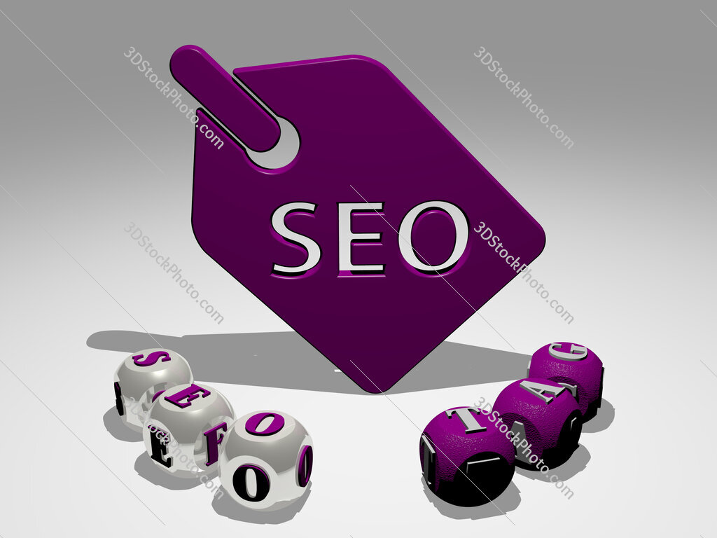 seo tag round text of cubic letters around 3D icon
