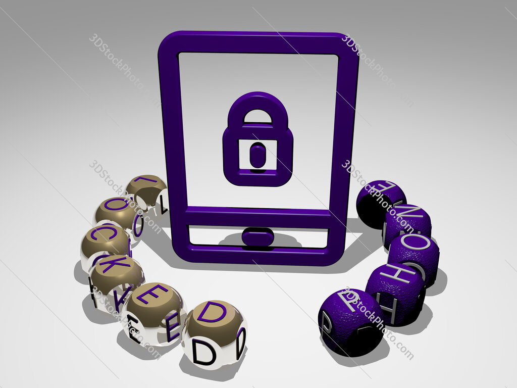 locked phone round text of cubic letters around 3D icon