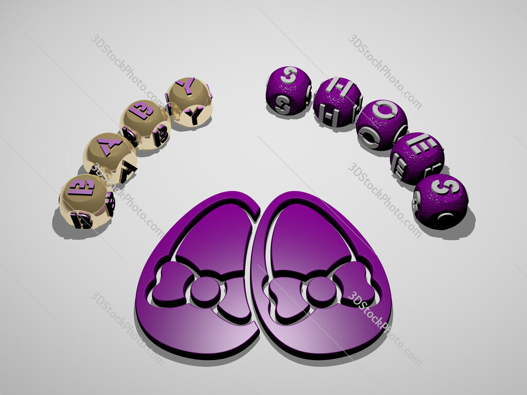 baby shoes 3D icon surrounded by the text of cubic letters