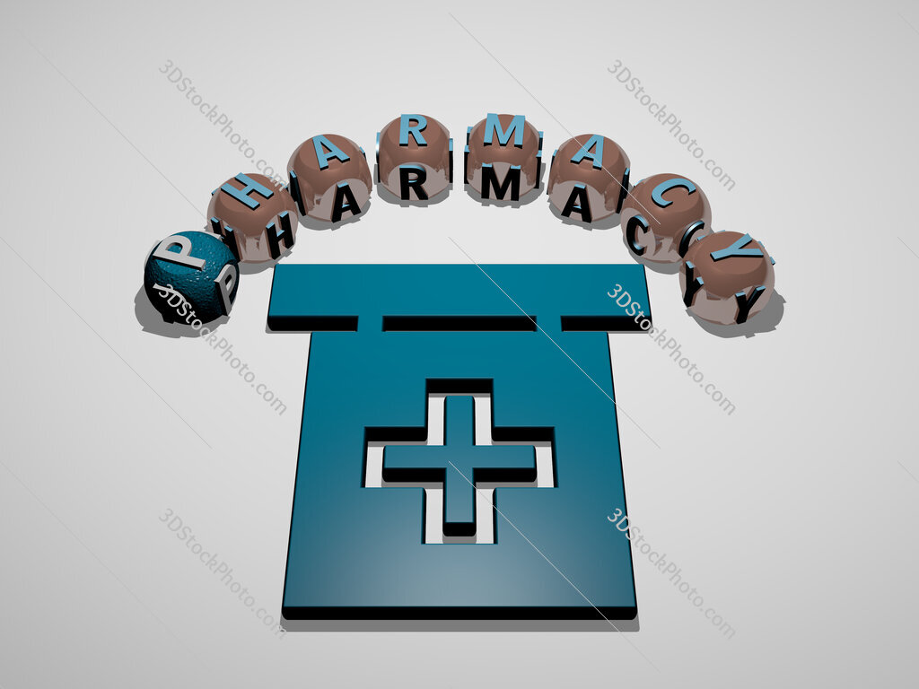 pharmacy 3D icon surrounded by the text of cubic letters