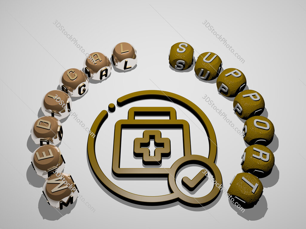 medical support 3D icon surrounded by the text of cubic letters