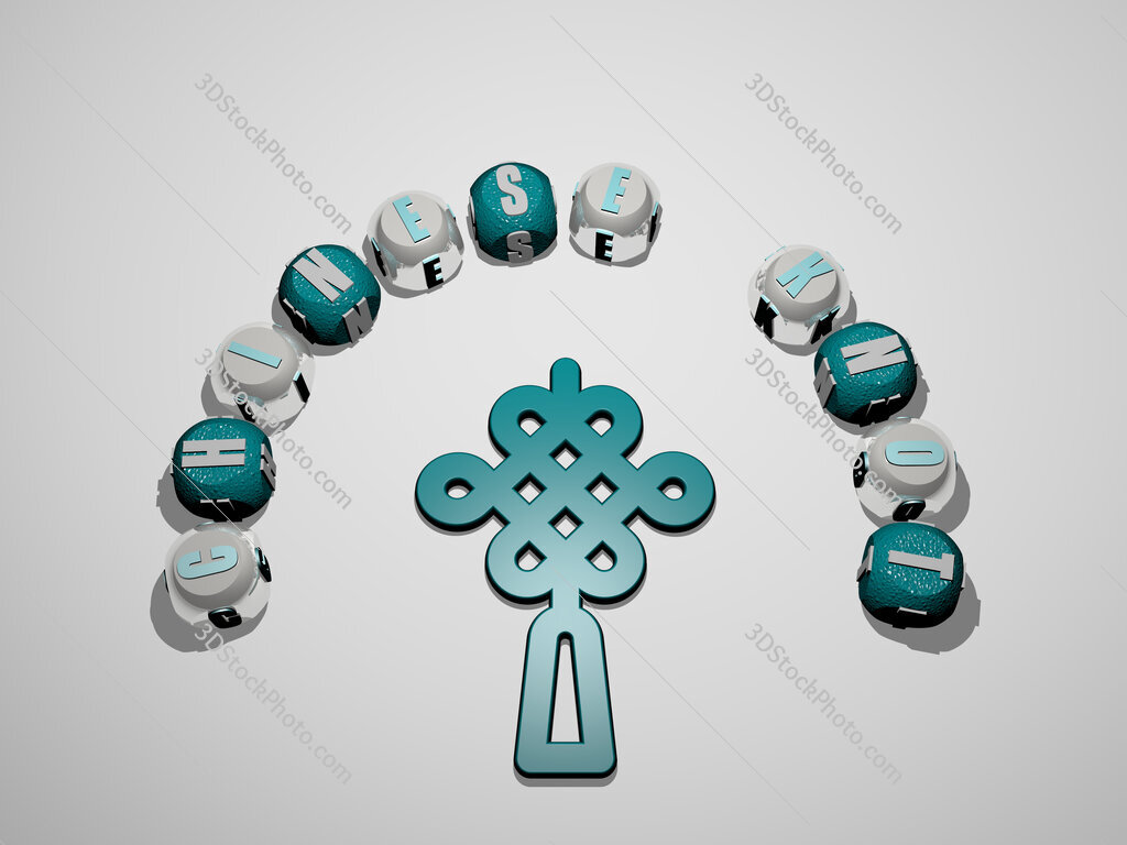 chinese knot 3D icon surrounded by the text of cubic letters