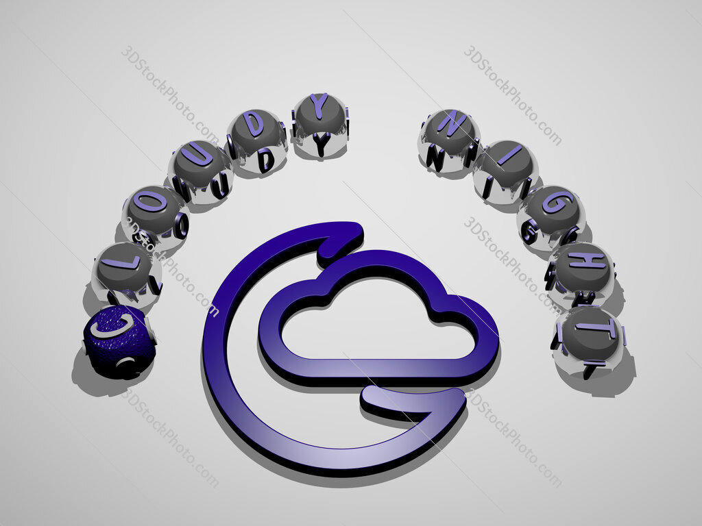 cloudy night 3D icon surrounded by the text of cubic letters