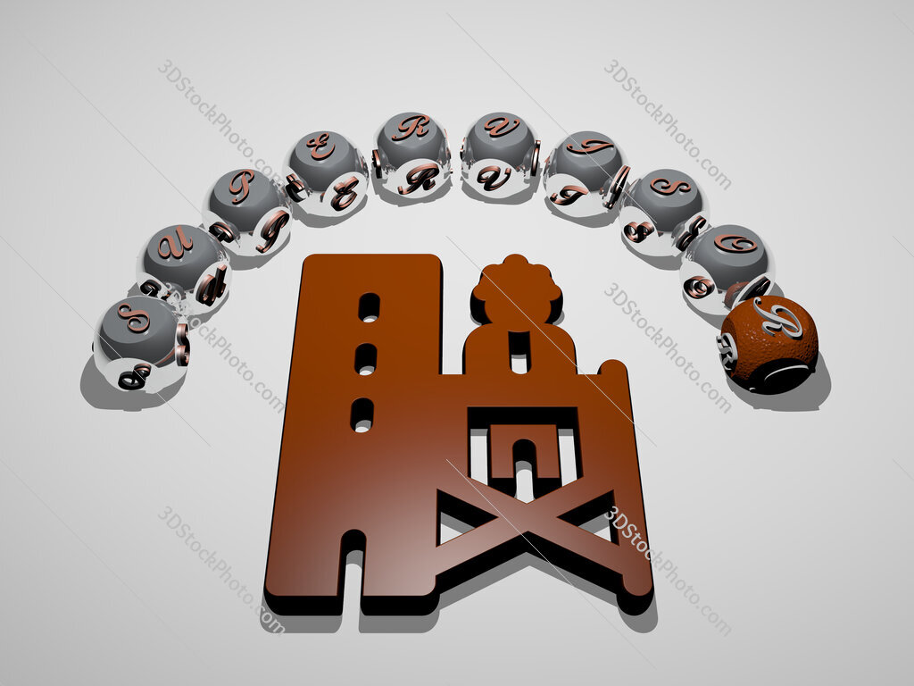supervisor 3D icon surrounded by the text of cubic letters