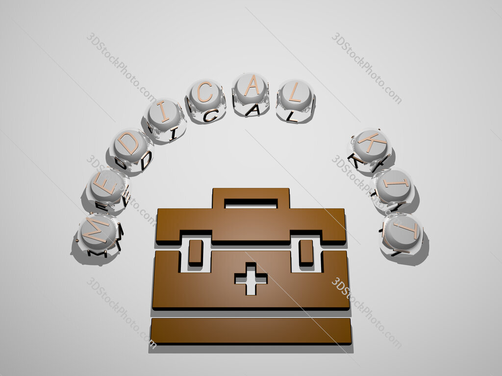 medical kit 3D icon surrounded by the text of cubic letters