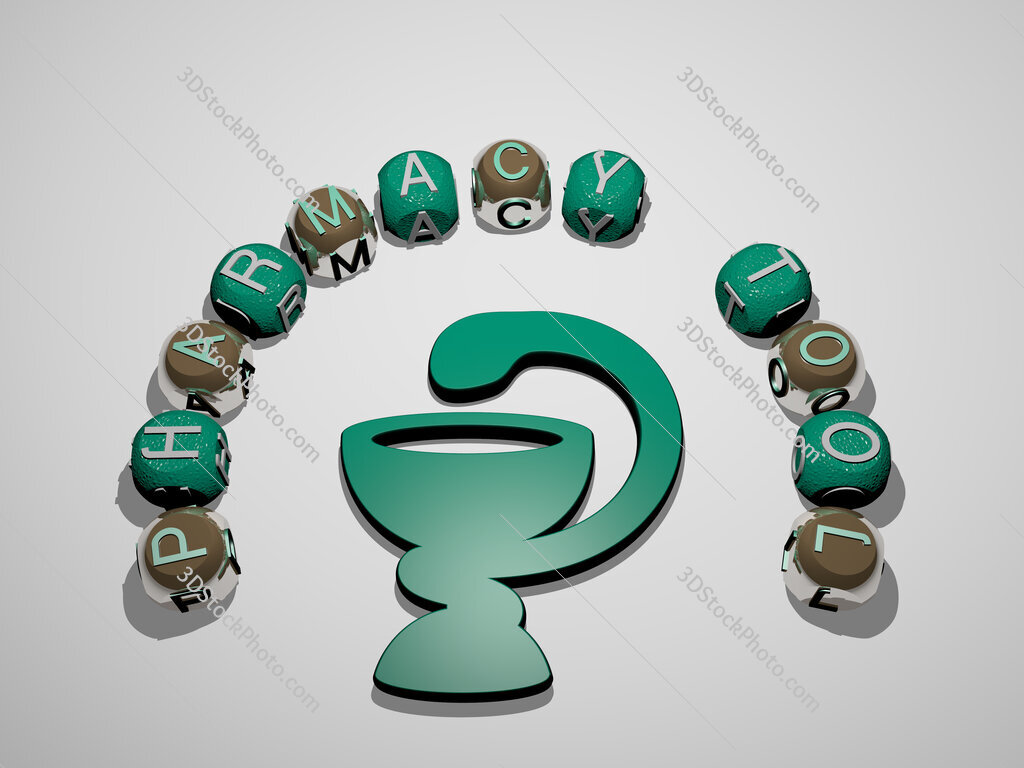 pharmacy tool 3D icon surrounded by the text of cubic letters