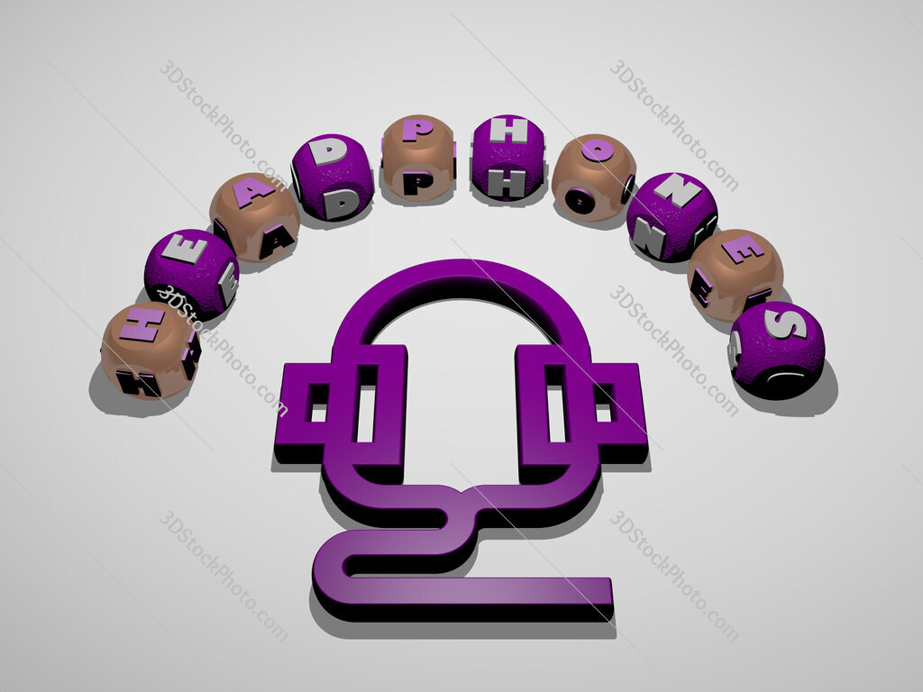 headphones 3D icon surrounded by the text of cubic letters