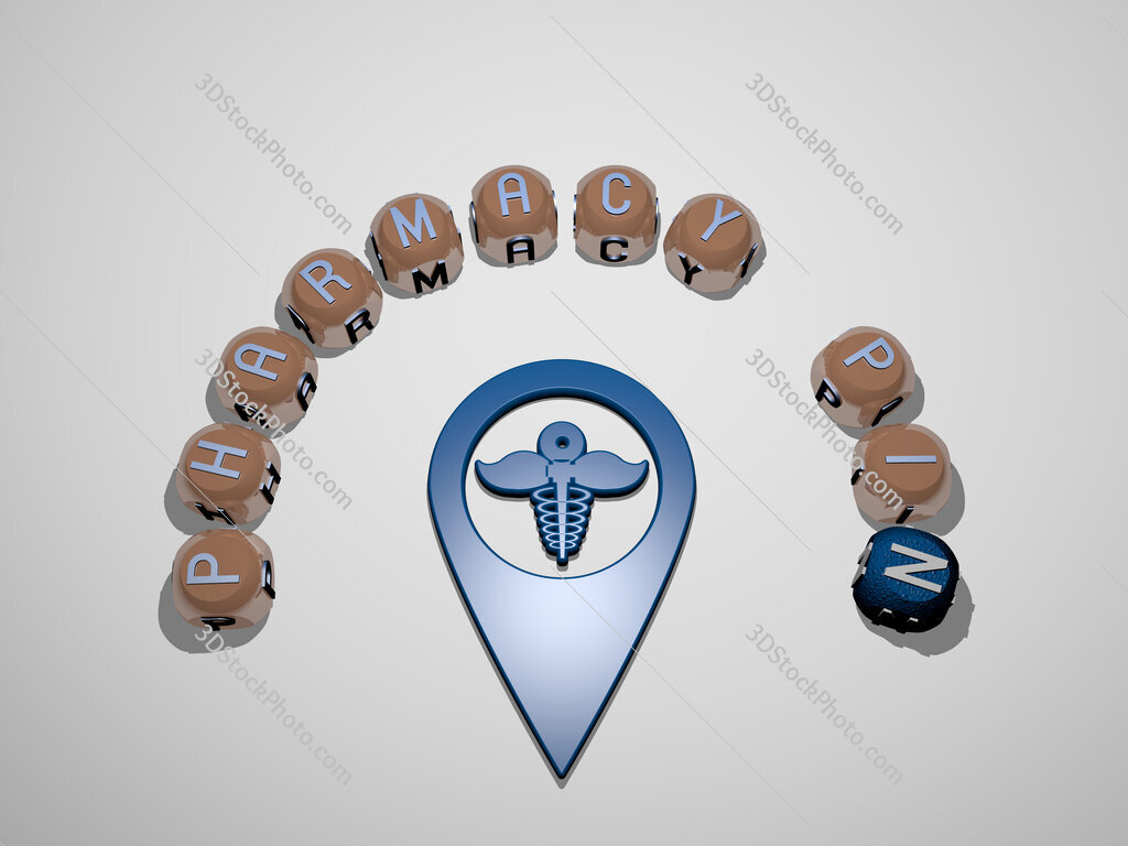 pharmacy pin 3D icon surrounded by the text of cubic letters
