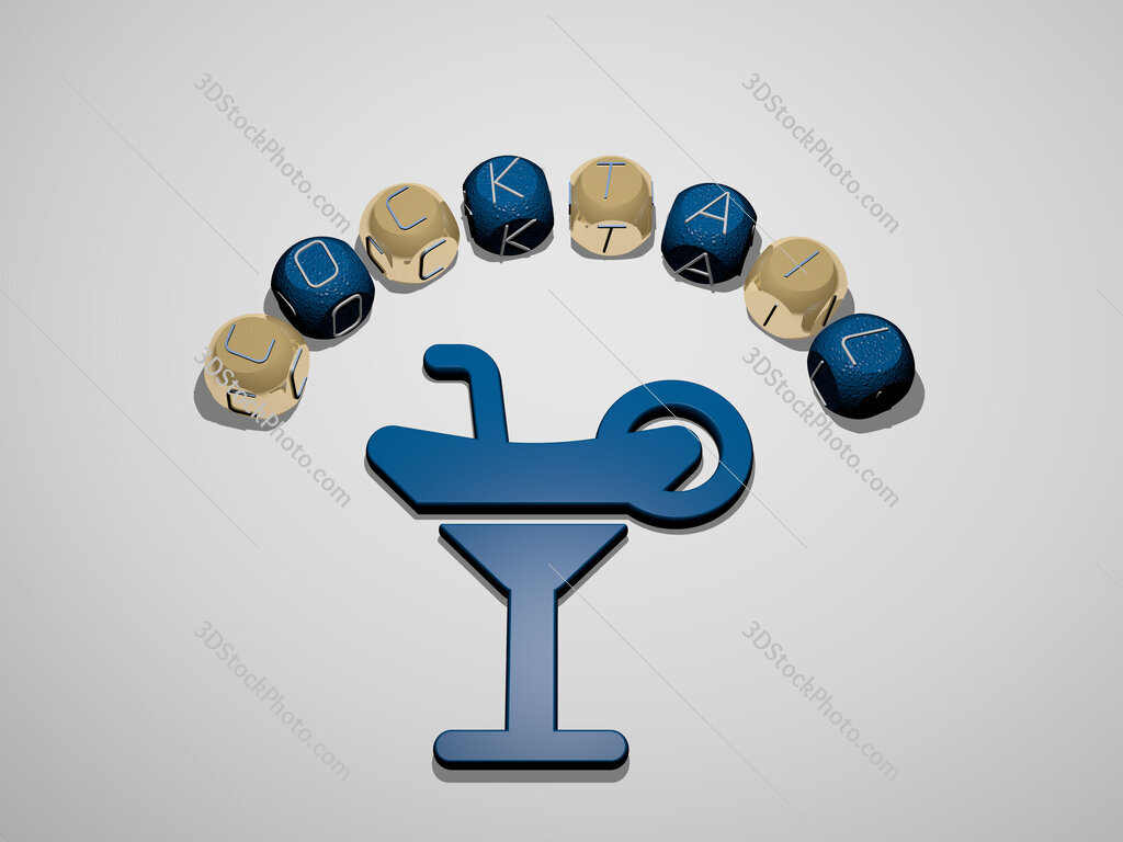 cocktail 3D icon surrounded by the text of cubic letters