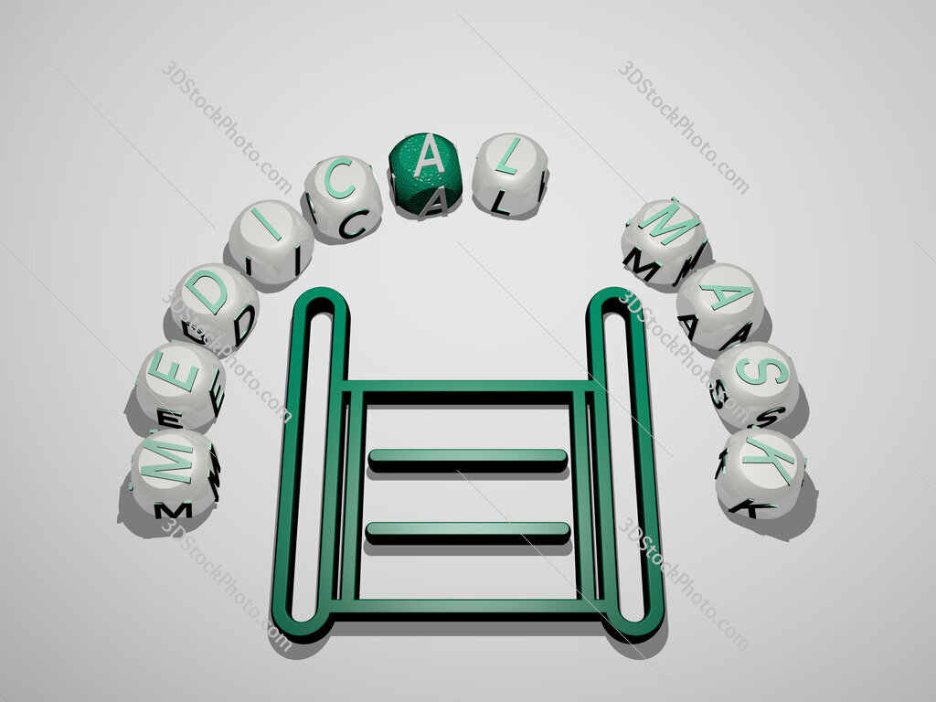 medical mask 3D icon surrounded by the text of cubic letters