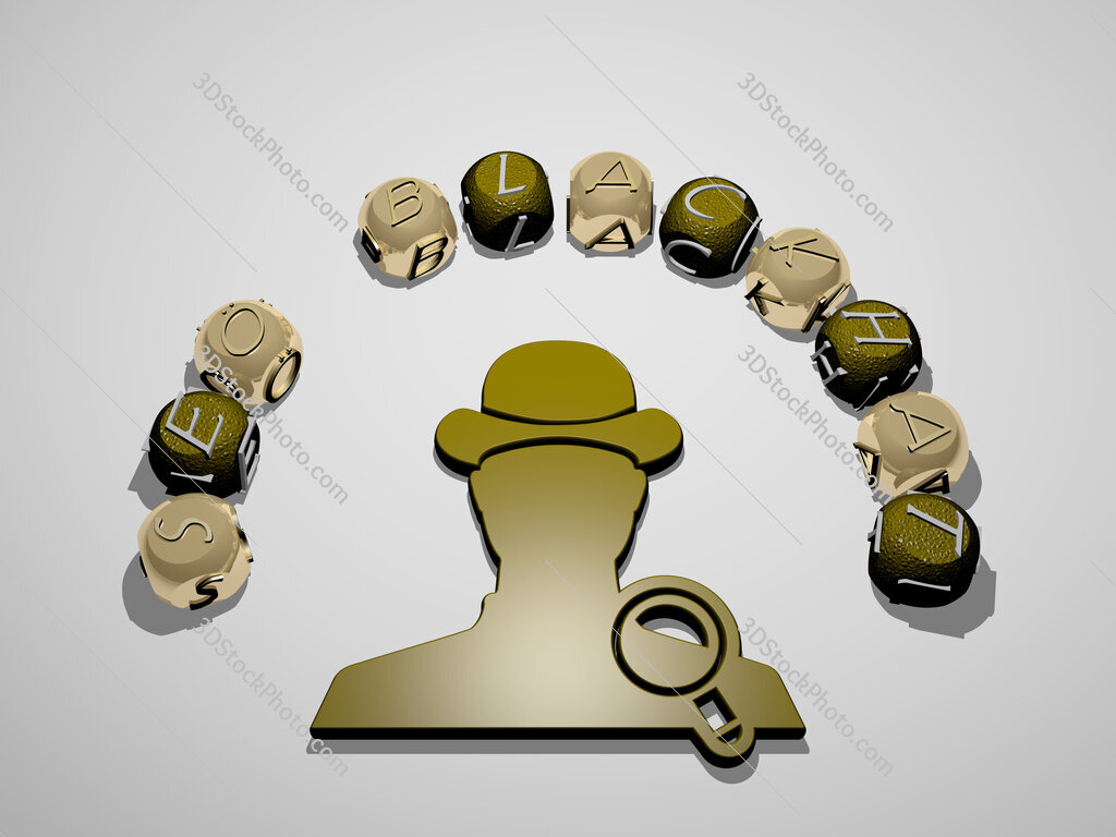 seo blackhat 3D icon surrounded by the text of cubic letters