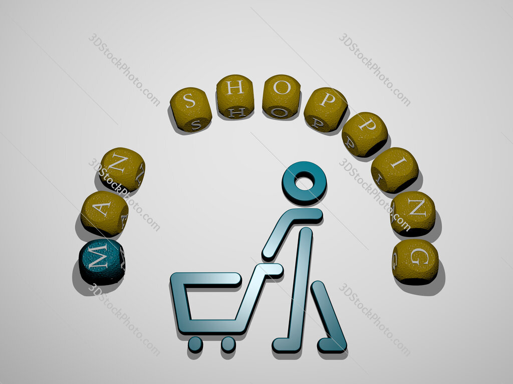 man shopping icon surrounded by the text of individual letters