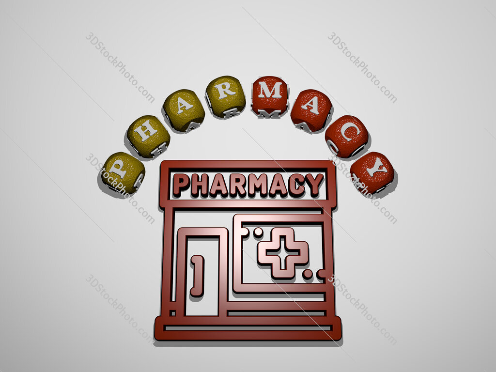 pharmacy icon surrounded by the text of individual letters