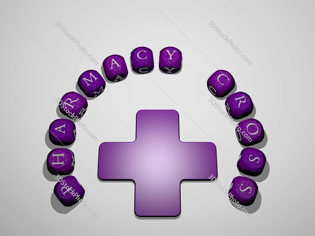 pharmacy cross icon surrounded by the text of individual letters