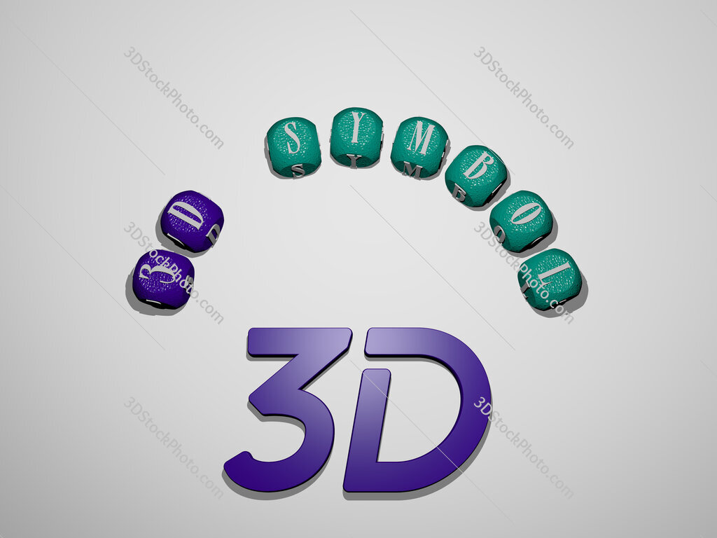 3d-symbol icon surrounded by the text of individual letters