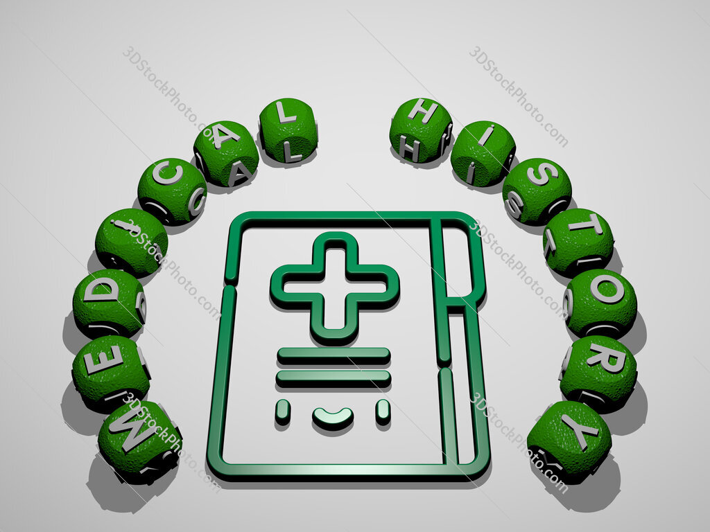 medical history icon surrounded by the text of individual letters