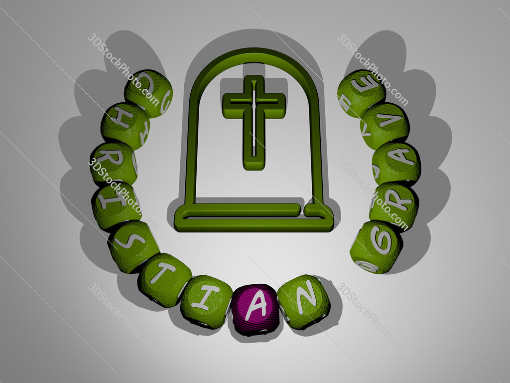 christian grave text around the 3D icon