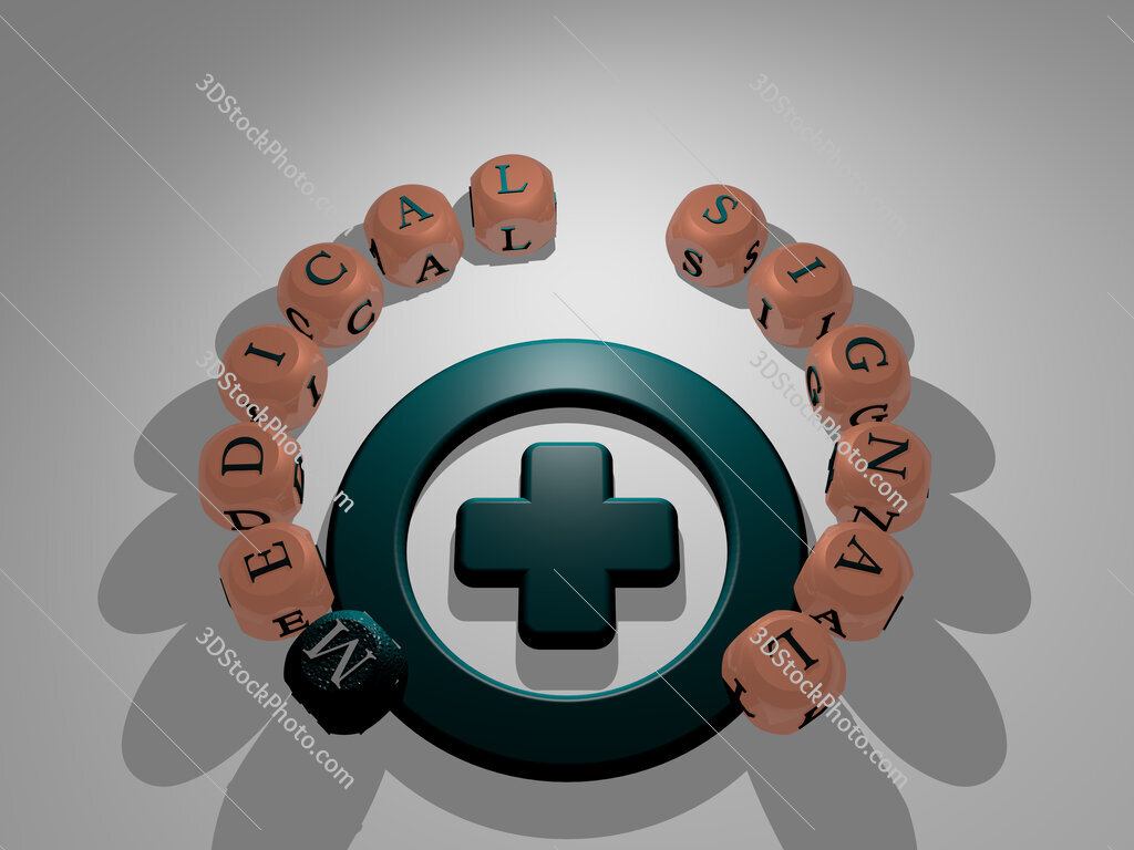 medical signal circular text of separate letters around the 3D icon