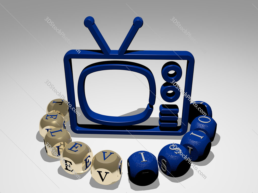 Television round text of cubic letters around 3D icon