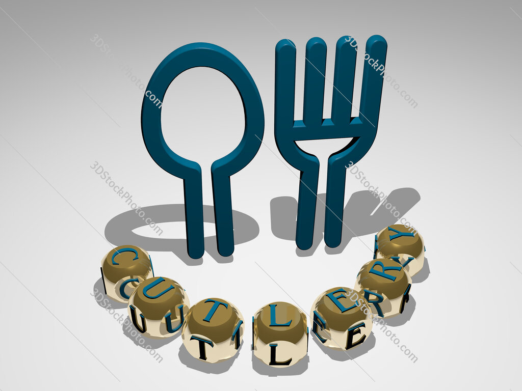 cutlery round text of cubic letters around 3D icon