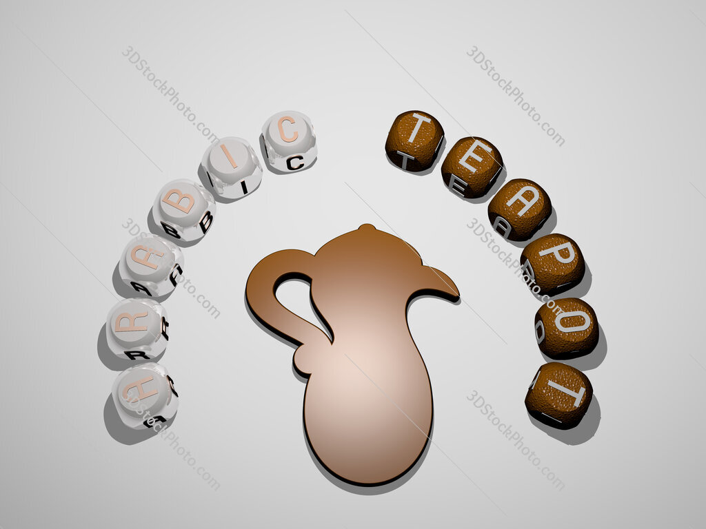 arabic teapot 3D icon surrounded by the text of cubic letters