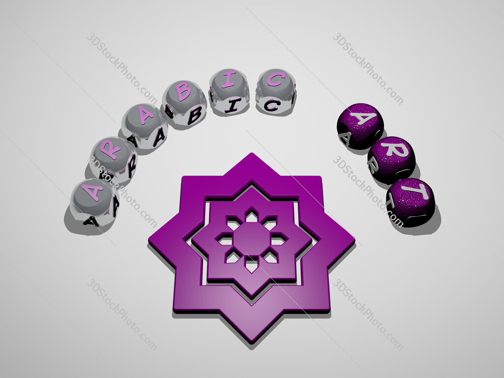 arabic art 3D icon surrounded by the text of cubic letters