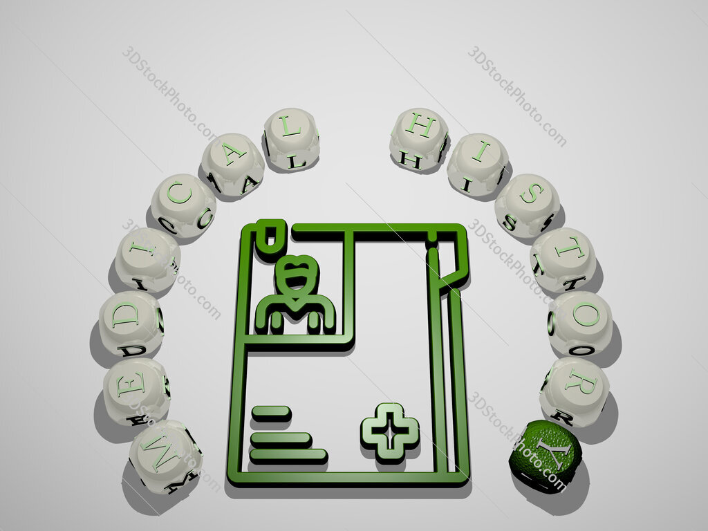 medical history 3D icon surrounded by the text of cubic letters