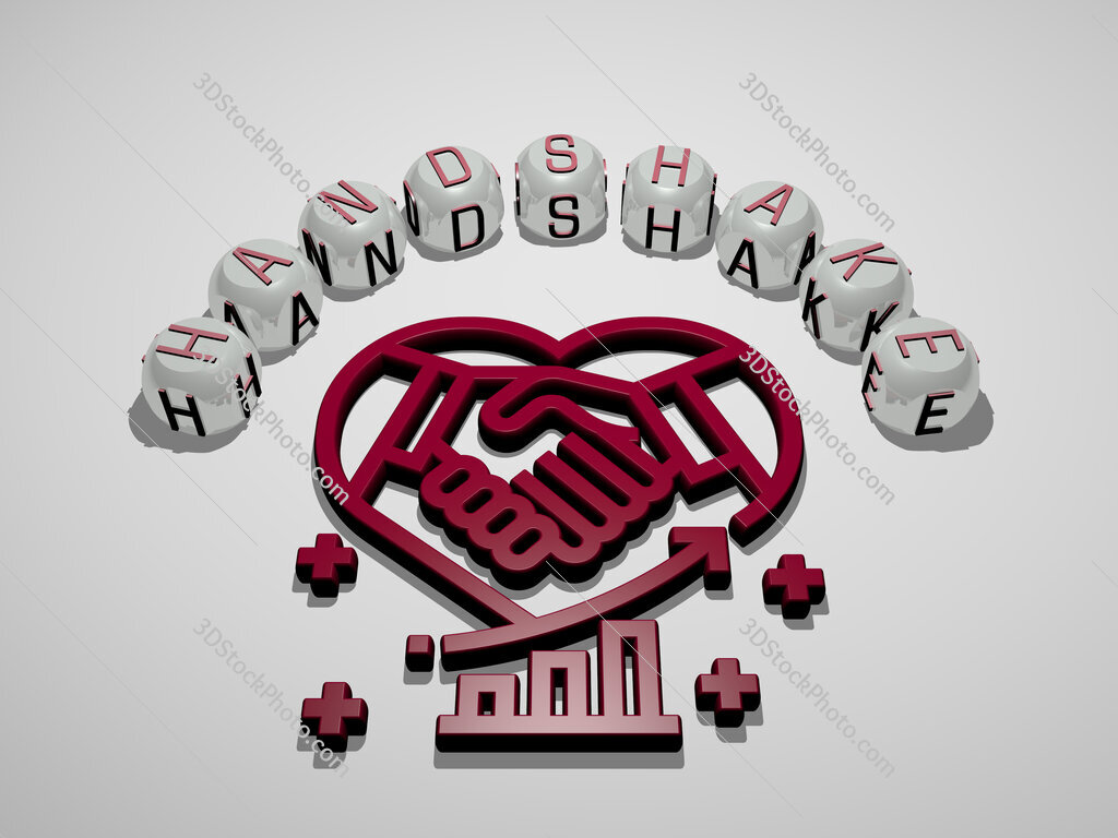 Handshake 3D icon surrounded by the text of cubic letters