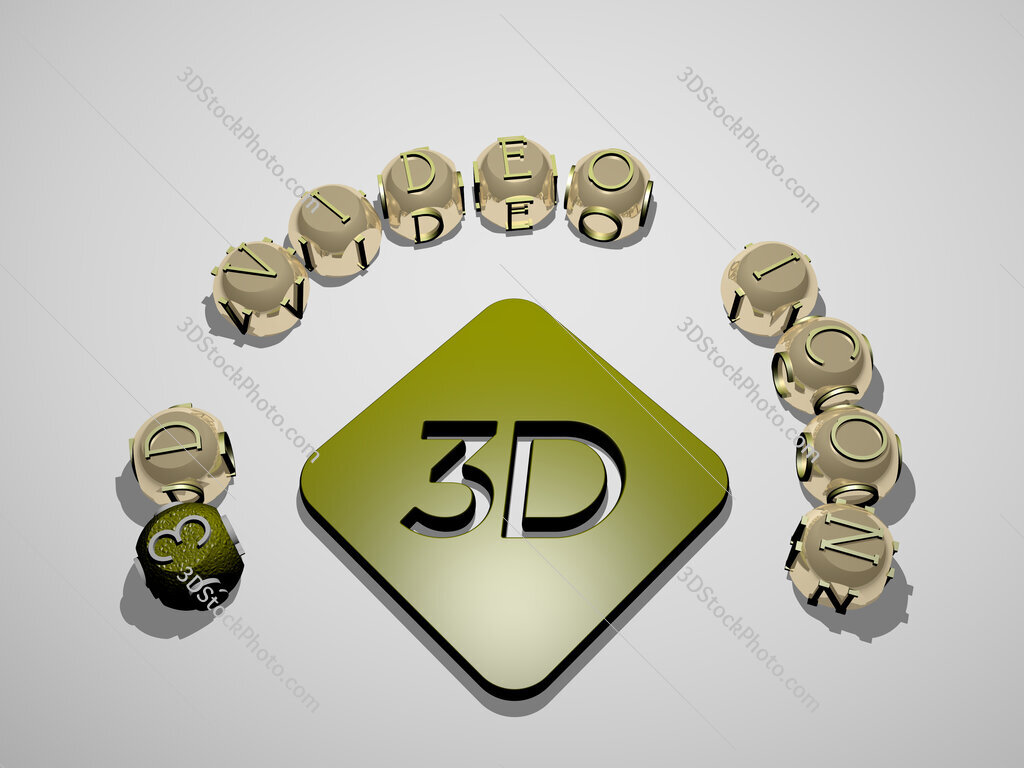 3d-video-icon 3D icon surrounded by the text of cubic letters