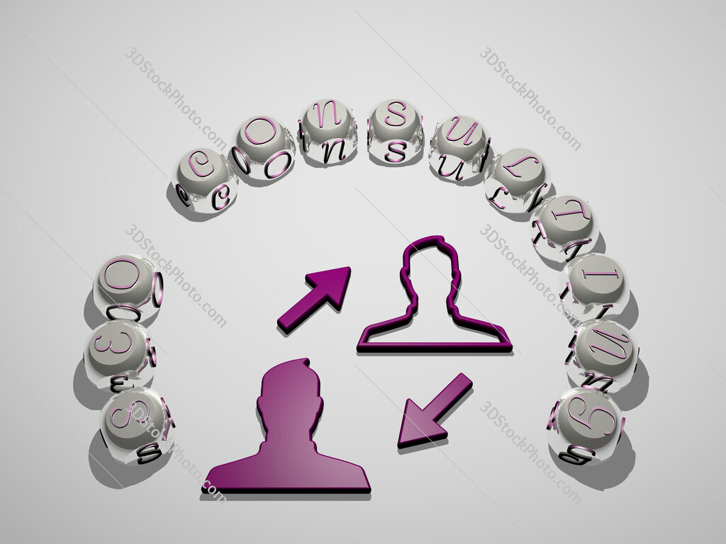 seo consulting 3D icon surrounded by the text of cubic letters