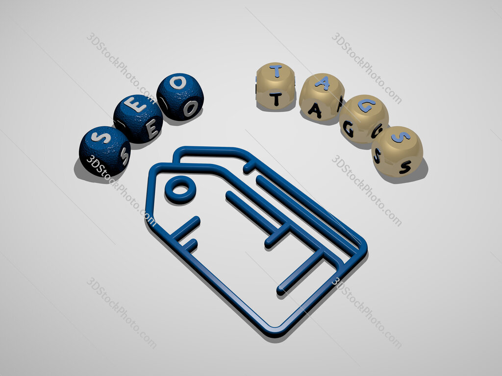 seo tags 3D icon surrounded by the text of cubic letters