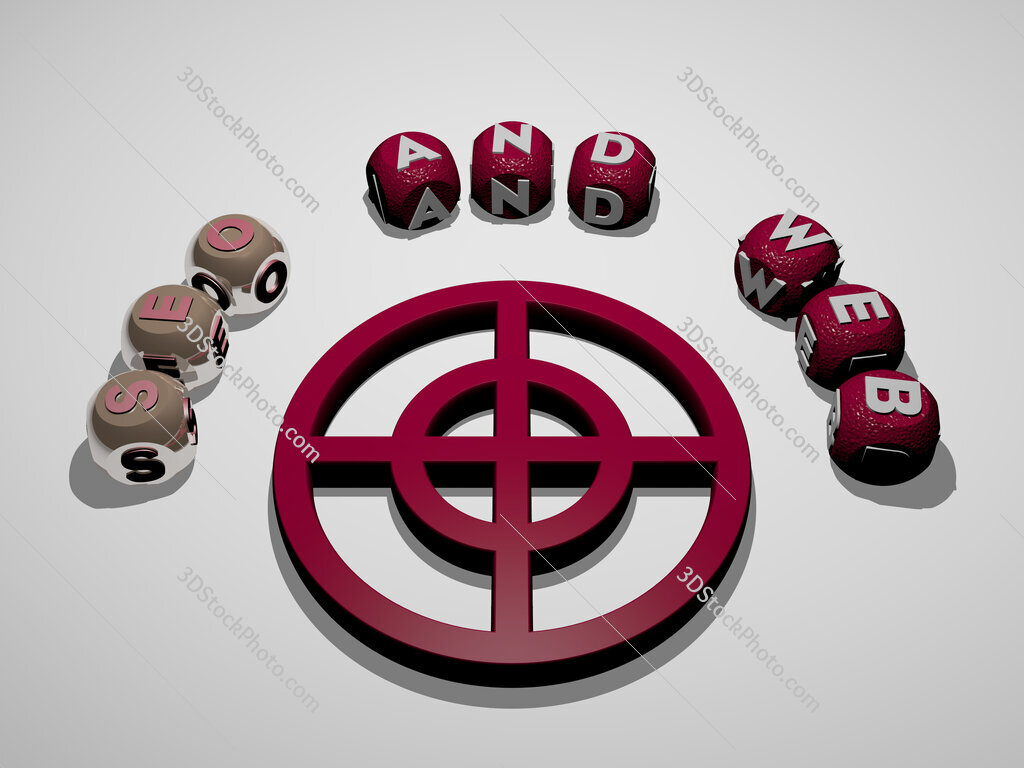 seo and web 3D icon surrounded by the text of cubic letters