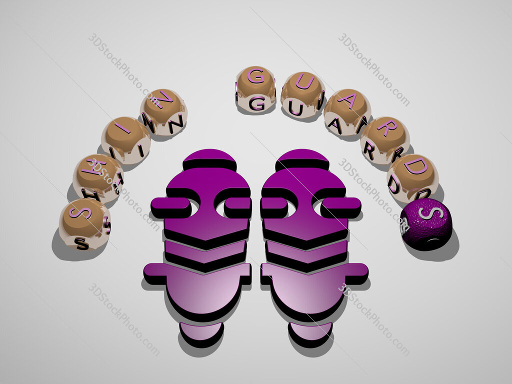 shin guards 3D icon surrounded by the text of cubic letters
