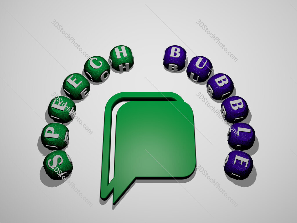 speech bubble icon surrounded by the text of individual letters